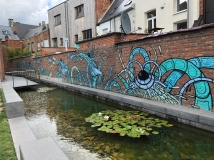 Muurschildering Mechelen: De waterdraak in de Rik Wouterstuin