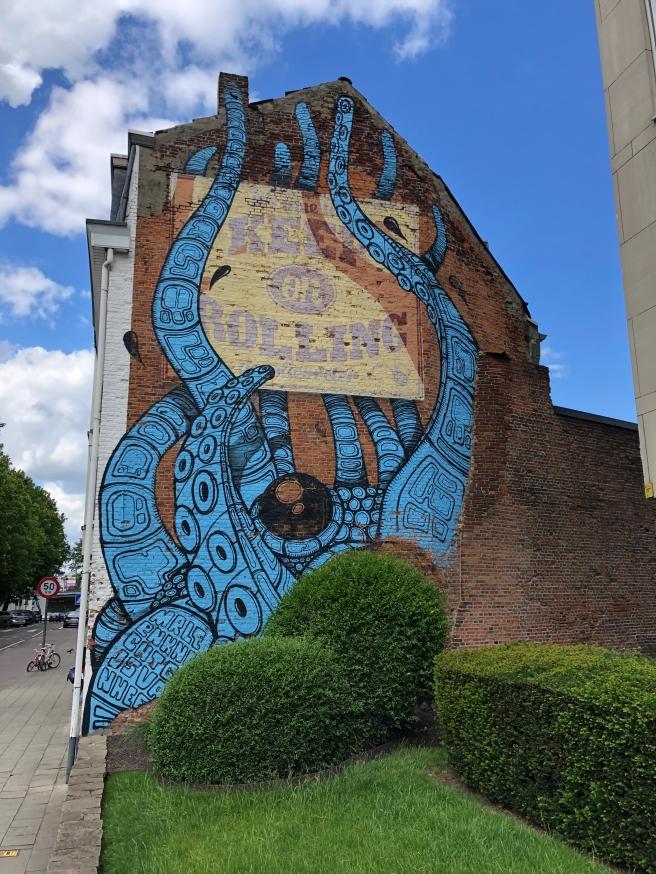 Muurschildering Mechelen: Inktvis Olivetenvest